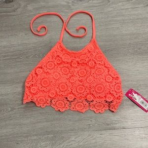 Melon Colored Bikini Halter Top